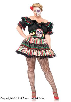 Mexikansk halloweenklänning, plus size, 1